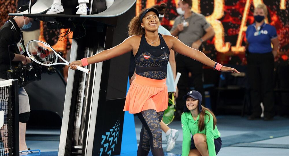 Tennis - Australian Open - Women's Singles Final - Melbourne Park, Melbourne, Australia, February 20, 2021 Japan's Naomi Osaka celebrates winning her final match against Jennifer Brady of the U.S.