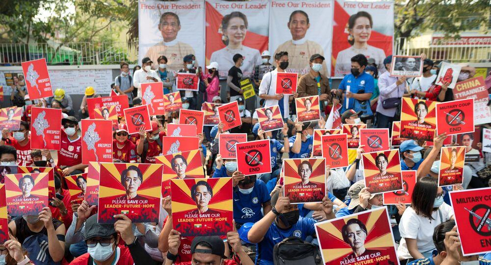 Demonstrators protest against the military coup in Yangon Myanmar