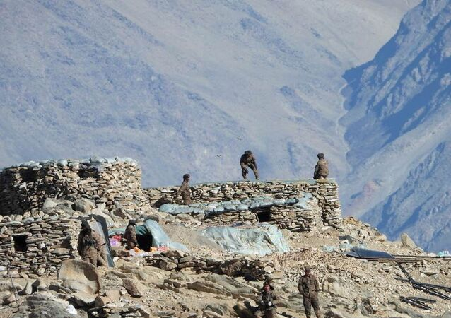 A handout photo released by Indian Army on February 16, 2021 shows the disengagement process between Indian Army and China's People's Liberation Army from a contested area in the western Himalayas, in Ladakh region.