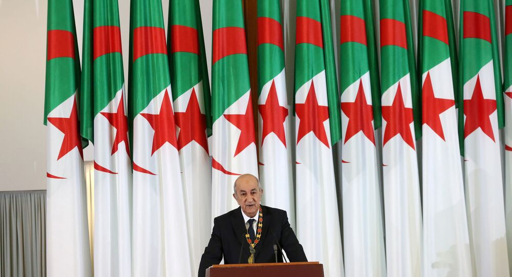 Newly elected Algerian President Abdelmadjid Tebboune delivers a speech during a swearing-in ceremony in Algiers, Algeria December 19, 2019.