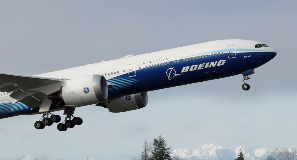 A Boeing 777X airplane takes off during its first test flight from the company's plant in Everett, Washington, U.S. January 25, 2020.