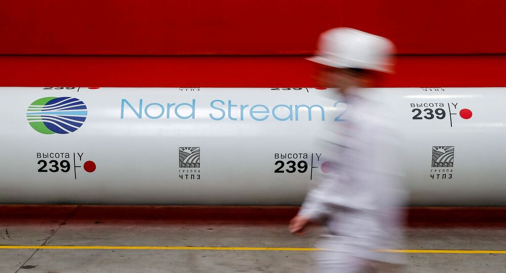 The logo of the Nord Stream 2 gas pipeline project is seen on a pipe at the Chelyabinsk pipe rolling plant in Chelyabinsk, Russia, 26 February 2020.