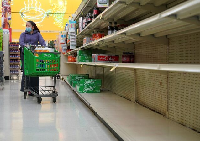 Empty shelves are seen at beverage section in Fiesta supermarket after winter weather caused food and clean water shortage in Houston, Texas, U.S. February 19, 2021