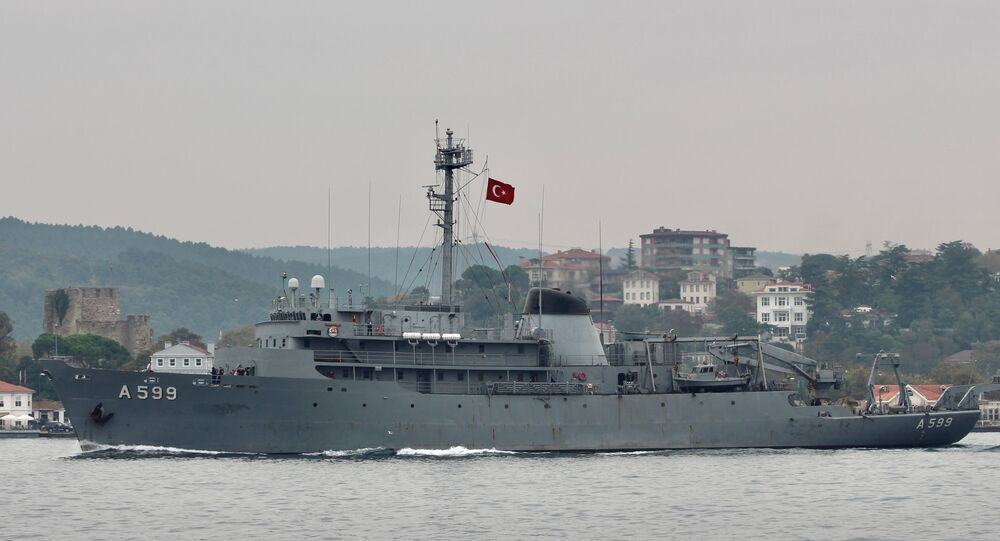 Turkish Navy research vessel TCG Cesme sails in the Bosphorus in Istanbul, Turkey 16 October 2019.