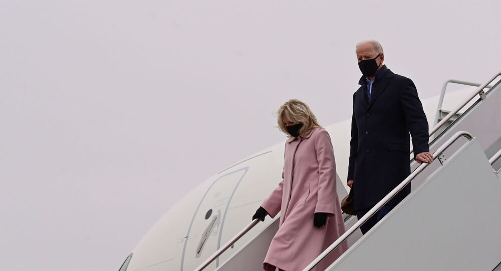 U.S. President Joe Biden and his wife Jill disembark from Air Force One after a trip to Camp David, at Joint Base Andrews, Maryland, U.S., February 15, 2021.