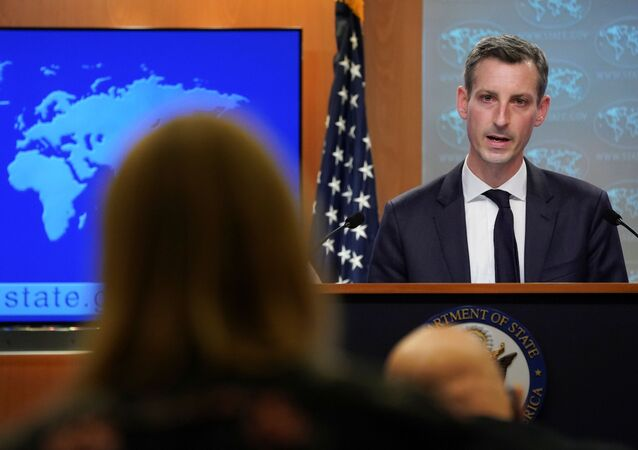 U.S. State Department Spokesman Ned Price speaks during a news briefing at the State Department in Washington