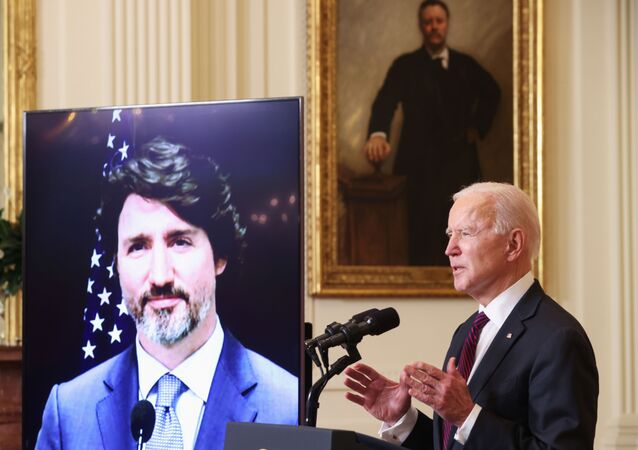 U.S. President Joe Biden and Canada's Prime Minister Justin Trudeau, appearing via video conference call, give closing remarks at the end of their virtual bilateral meeting from the White House in Washington, U.S. February 23, 2021