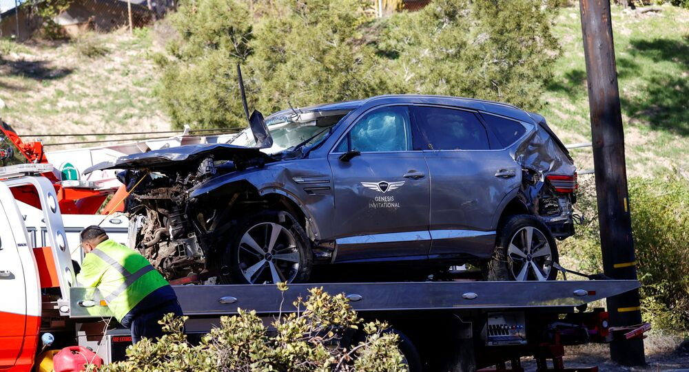 The damaged car of Tiger Woods is towed away after he was involved in a car crash, near Los Angeles, California, U.S., February 23, 2021.