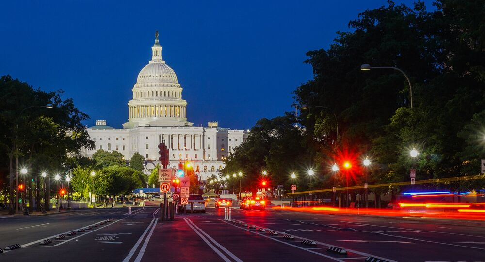 Washington DC at night. View of the Capitol building