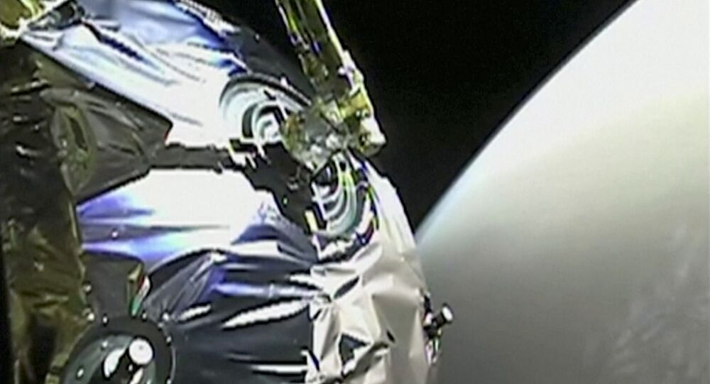 A view as Tianwen-1 probe enters the orbit of Mars in this screen grab obtained from a video on February 12, 2021