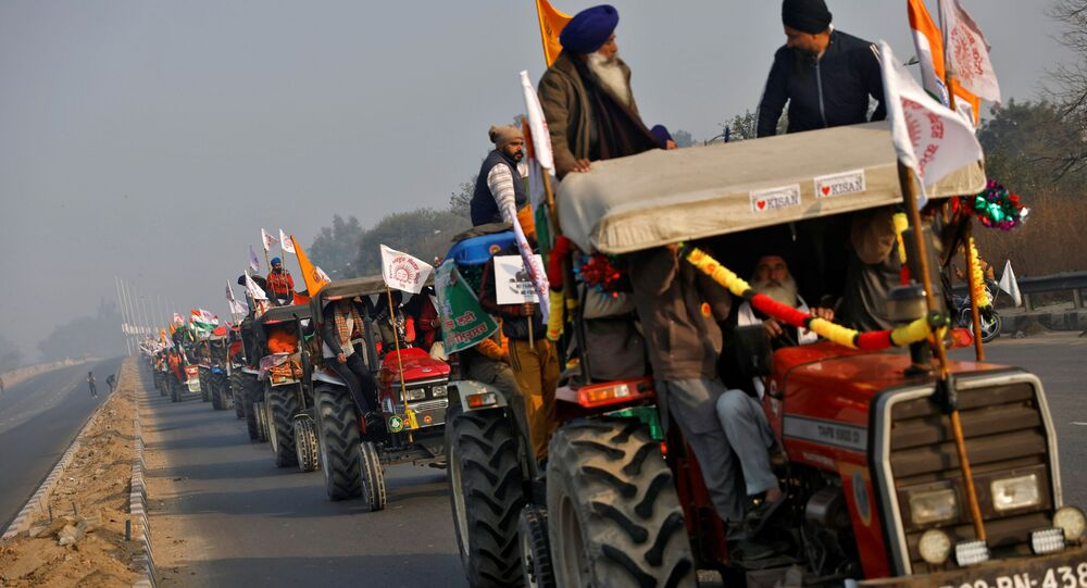 Farmers take part in a tractor rally to protest against farm laws on the occasion of India's Republic Day in Delhi, India, January 26, 2021