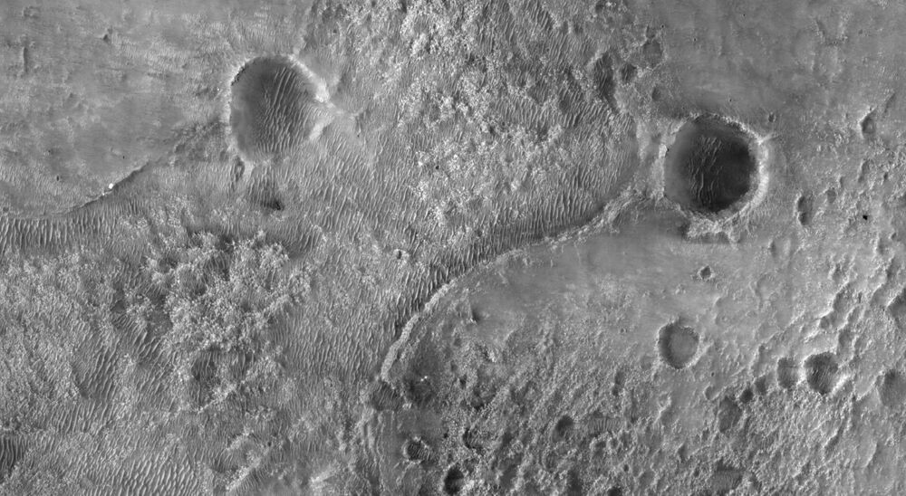 NASA's Perseverance Mars rover is seen where it landed in Jezero Crater on Mars.