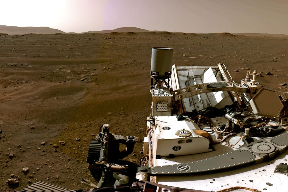 A panoramic photo of the Martian landscape made up of individual images taken by the Navigation Cameras, or Navcams, aboard NASA's Perseverance Mars rover.