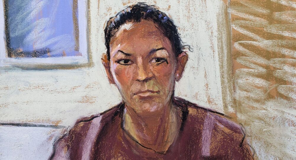 Courtroom sketch of Ghislaine Maxwell appearing via video link during her arraignment hearing in Manhattan Federal Court, in the Manhattan borough of New York City, New York, US, 14 July 2020, when she was denied bail for her role aiding Jeffrey Epstein to recruit and eventually abuse underage girls.
