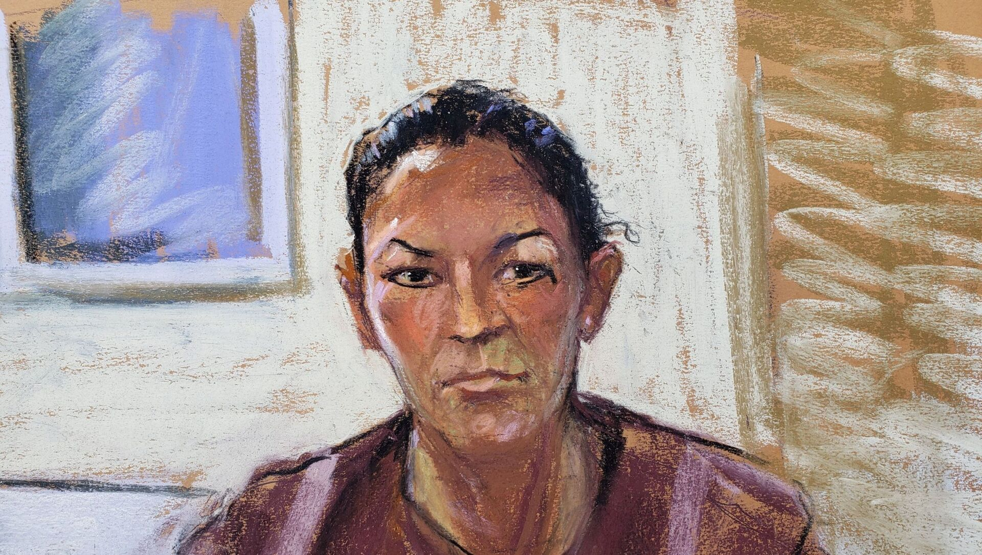 Ghislaine Maxwell appears via video link during her arraignment hearing where she was denied bail for her role aiding Jeffrey Epstein to recruit and eventually abuse teenage girls, in Manhattan Federal Court, in the Manhattan borough of New York City, 14 July 2020 in this courtroom sketch - Sputnik International, 1920, 03.07.2021