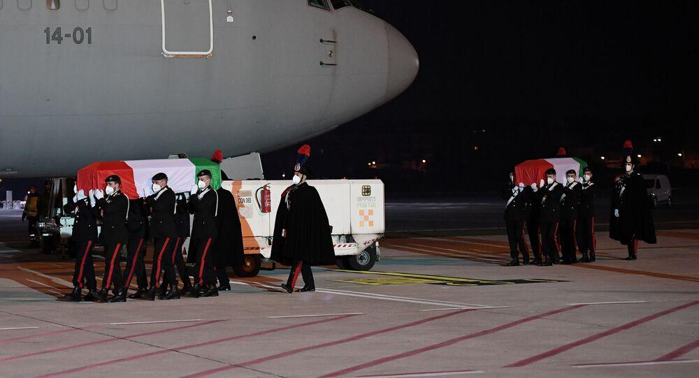The bodies of Italian ambassador Luca Attanasio and his bodyguard Vittorio Iacovacci arrive back at Rome's Ciampino airport following a deadly attack in the Democratic Republic of Congo, in Rome, Italy, February 23, 2021.