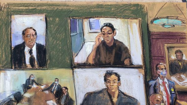 Ghislaine Maxwell appears via video link during her arraignment hearing where she was denied bail for her role aiding Jeffrey Epstein to recruit and eventually abuse of minor girls, in Manhattan Federal Court, in the Manhattan borough of New York City, New York, U.S. July 14, 2020 in this courtroom sketch - Sputnik International