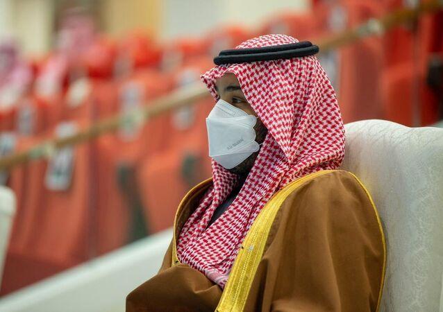 Saudi Crown Prince, Mohammed bin Salman attends the Saudi Cup at King Abdulaziz Racetrack in Riyadh, Saudi Arabia, February 20, 2021. Picture taken February 20, 2021.