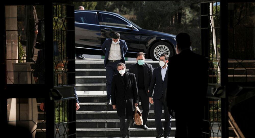 International Atomic Energy Agency (IAEA) Director General Rafael Grossi walks during a meeting with the head of Iran's Atomic Energy Organisation Ali-Akbar Salehi, in Tehran, Iran, 21 February 2021