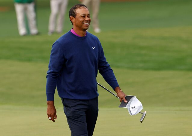 Golf - The Masters - Augusta National Golf Club - Augusta, Georgia, U.S. - November 14, 2020 Tiger woods of the U.S. reacts after completing the second round