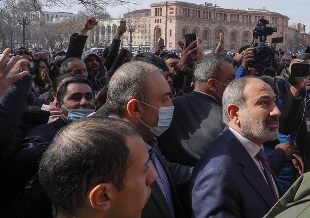 Armenian Prime Minister Nikol Pashinyan meets with participants of a gathering after he called on followers to rally in the centre of Yerevan, Armenia February 25, 2021