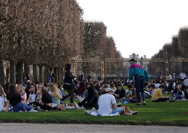 People enjoy a sunny and warm weather at the Luxembourg Gardens in Paris amid the coronavirus disease (COVID-19) outbreak in France on 24 February 2021.