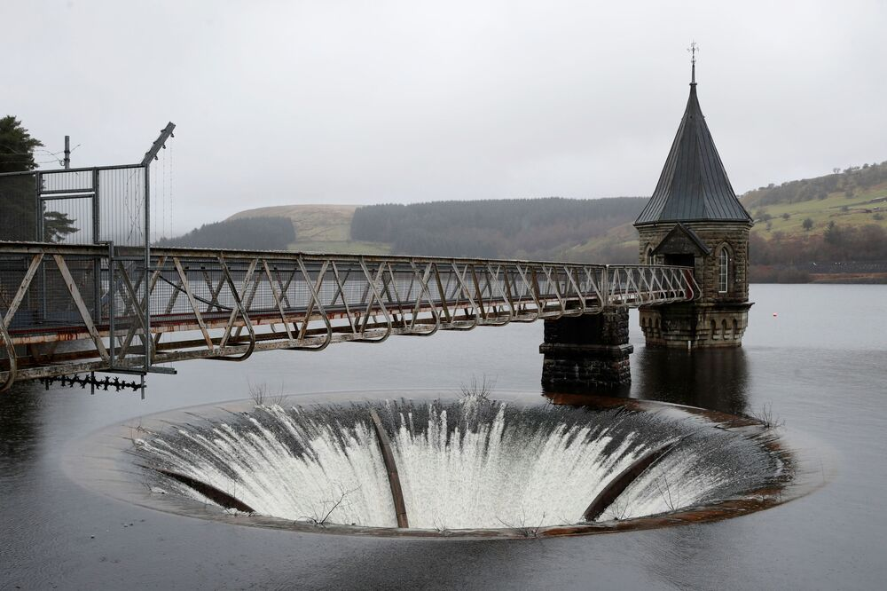 Pontsticill Reservoir seen in the rain in the Brecon Beacons National Park in South Wales, Britain, 17 February 2021.