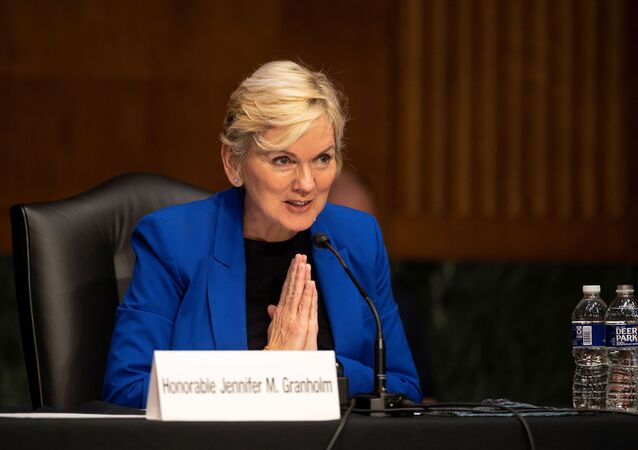 Former Michigan Governor Jennifer Granholm thanks to the committee after testifying before the Senate Energy and Natural Resources Committee during a hearing to examine her nomination to be Secretary of Energy, on Capitol Hill in Washington, D.C., U.S., January 27, 2021.