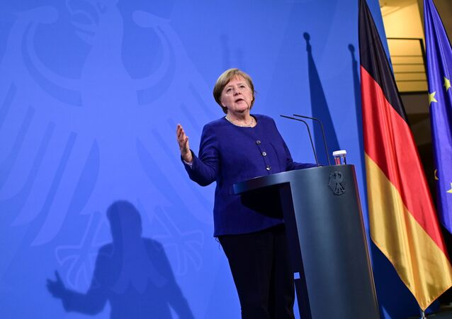 German Chancellor Angela Merkel addresses a press conference following the EU leaders' videoconference in Berlin, Germany February 25, 2021.