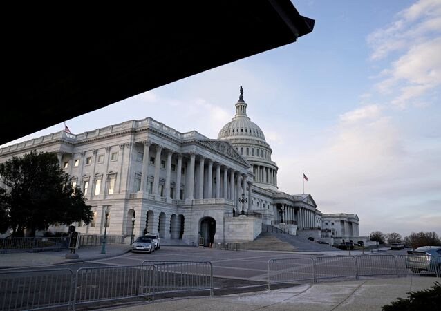 A view of the US Capitol Building as the Democrats and Republicans continue to move forward on the agreement on the coronavirus disease (COVID-19) aid package in Washington, DC, 21 December 2020