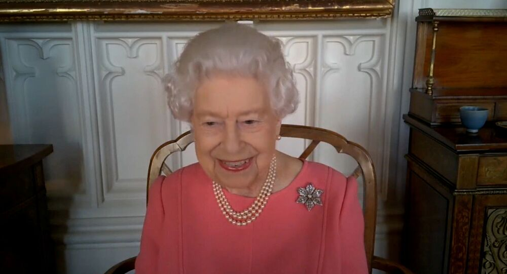 Britain's Queen Elizabeth speaks via video call to health leaders delivering the COVID-19 vaccine across England, Scotland, Wales and Northern Ireland, London, Britain February 25, 2021