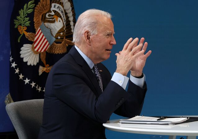 U.S. President Joe Biden delivers remarks virtually to the National Governors Association Winter Meeting from the South Court Auditorium at the White House in Washington, U.S., February 25, 2021