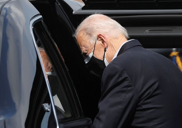 U.S. President Joe Biden gets into the car upon arrival at Ellington Field Joint Reserve Base in Houston, Texas, U.S., February 26, 2021.