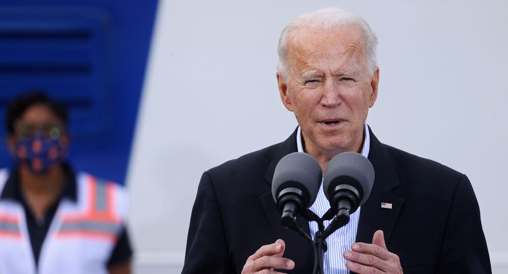 US President Joe Biden speaks after touring a Federal Emergency Management Agency (FEMA) vaccination facility for combating the coronavirus disease (COVID-19) at NRG Stadium in Houston, Texas, 26 February 2021