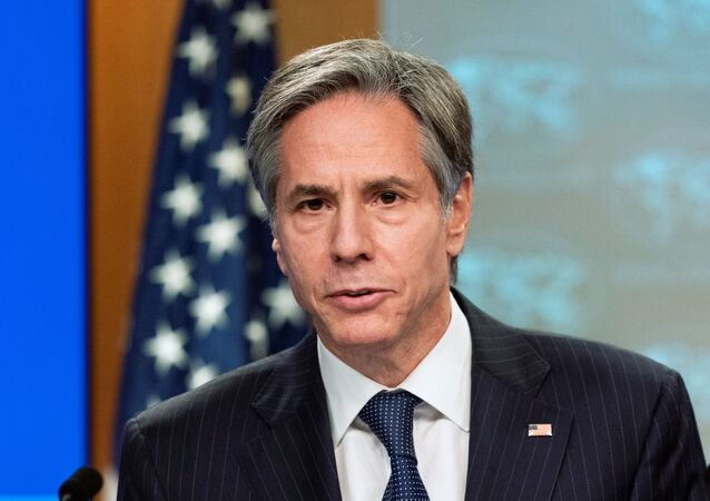 U.S. Secretary of State Antony Blinken speaks during a news conference at the State Department in Washington, February 26, 2021