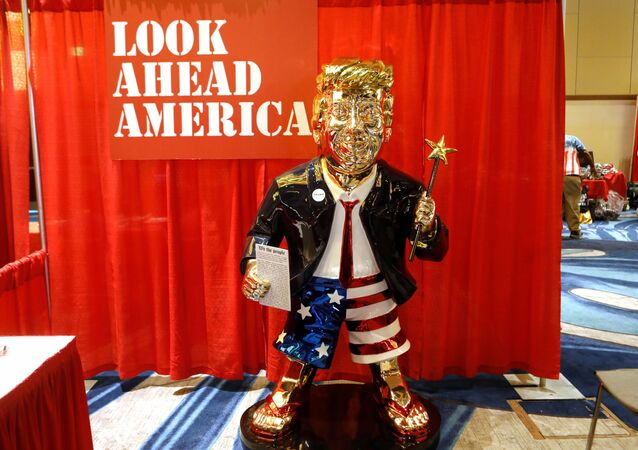 A statue of former U.S. President Donald Trump is pictured at the Conservative Political Action Conference (CPAC) in Orlando, Florida, U.S. February 26, 2021. REUTERS/Octavio Jones