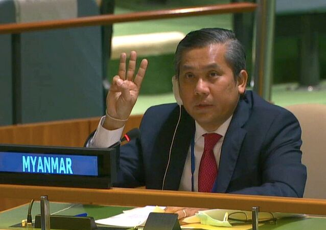 Myanmar's ambassador to the United Nations Kyaw Moe Tun holds up three fingers at the end of his speech to the General Assembly where he pleaded for International action in overturning the military coup in his country as seen in this still image taken from a video, in the Manhattan borough of New York City, New York, U.S., February 26, 2021.