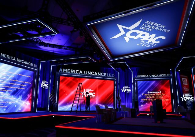 Technicians work on the stage before the start of the Conservative Political Action Conference (CPAC) in Orlando, Florida, U.S. February 25, 2021.