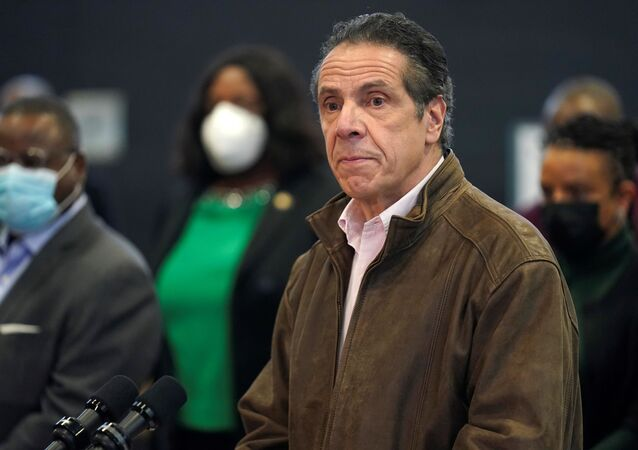 New York Governor Andrew Cuomo speaks during a news conference at a vaccination site in the Brooklyn borough of New York, U.S., February 22, 2021