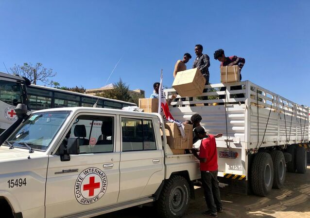 Workers from the International Committee of the Red Cross (ICRC) and volunteers from the Ethiopian Red Cross distribute relief supplies to civilians in the Tigray region, Ethiopia 27 January 2021.