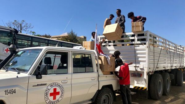 Workers from the International Committee of the Red Cross (ICRC) and volunteers from the Ethiopian Red Cross distribute relief supplies to civilians in the Tigray region, Ethiopia 27 January 2021. - Sputnik International