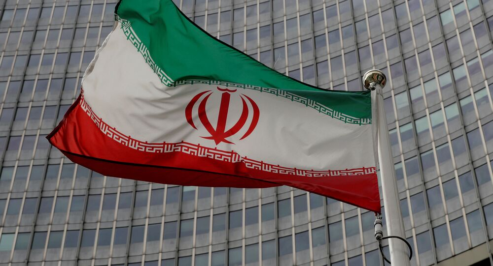 An Iranian flag flutters in front of the International Atomic Energy Agency (IAEA) headquarters in Vienna, Austria, September 9, 2019.