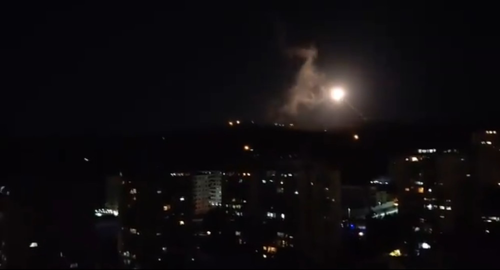 Screenshot from the video allegedly showing a rocket attack in the sky above the Syrian capital city of Damascus