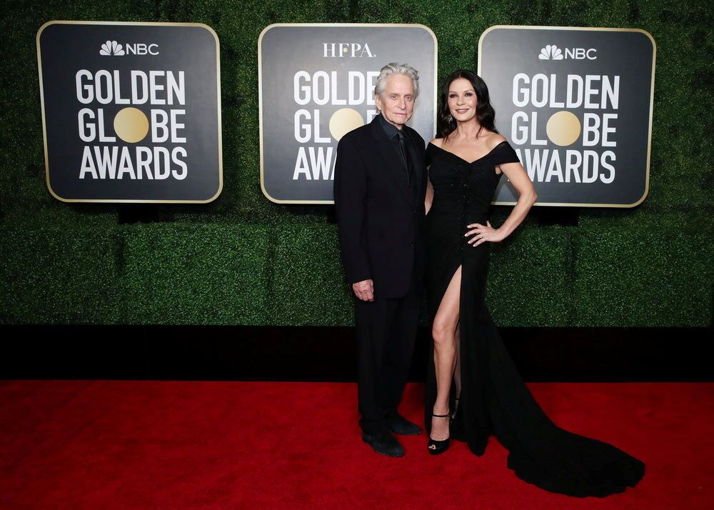 Michael Douglas and Catherine Zeta-Jones pose in this handout photo from the 78th Annual Golden Globe Awards in New York, 28 February 2021.