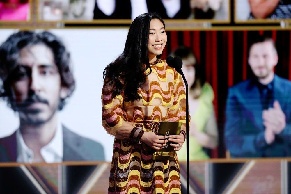 Awkwafina in a handout photo from the 78th Annual Golden Globe Awards in Beverly Hills, California, 28 February 2021.