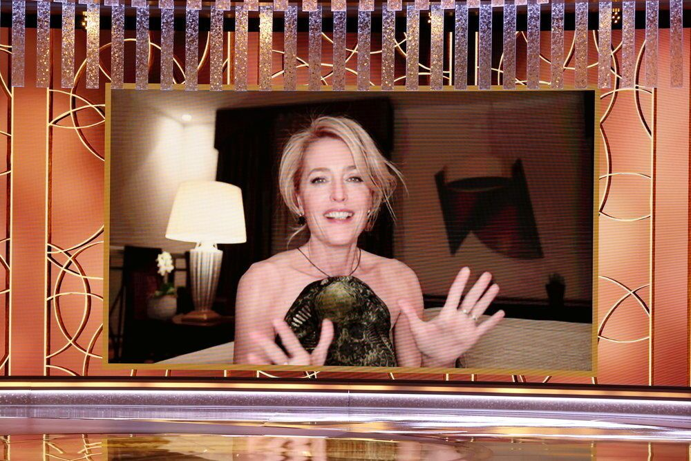 Gillian Anderson is seen in this handout photo after winning Best Performance by an Actress in a Television Supporting Role for The Crown at the 78th Annual Golden Globe Awards in Beverly Hills, California, 28 February  2021.