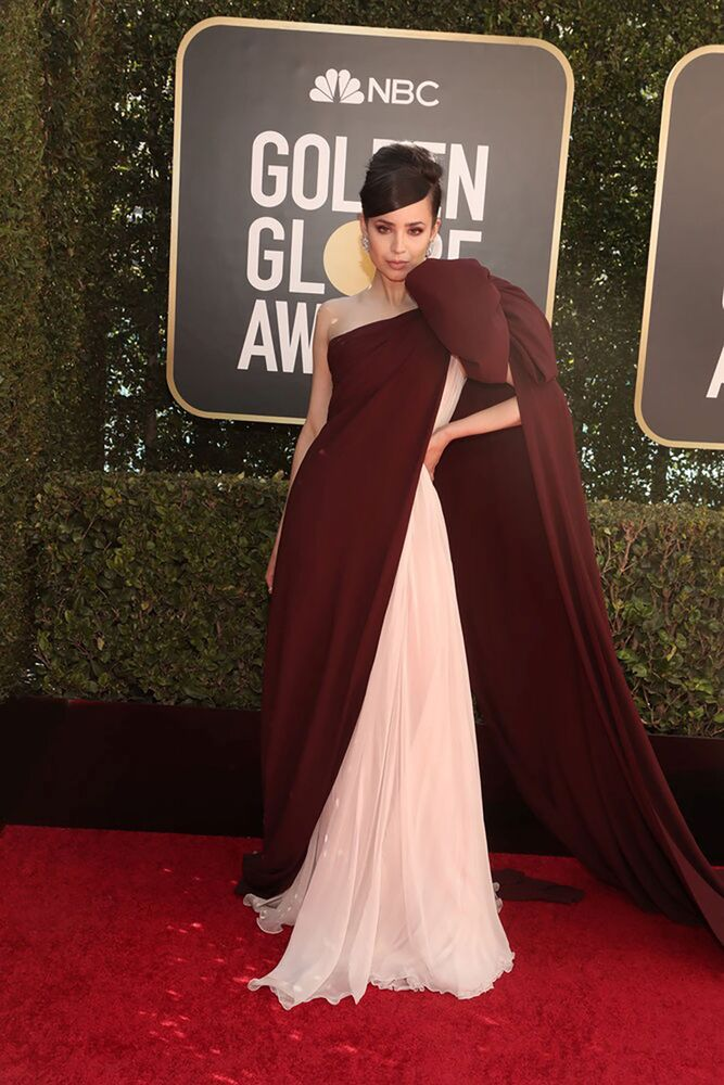 Actress Sofia Carson poses in this handout photo from the 78th Annual Golden Globe Awards in Beverly Hills, California, 28 February 2021.