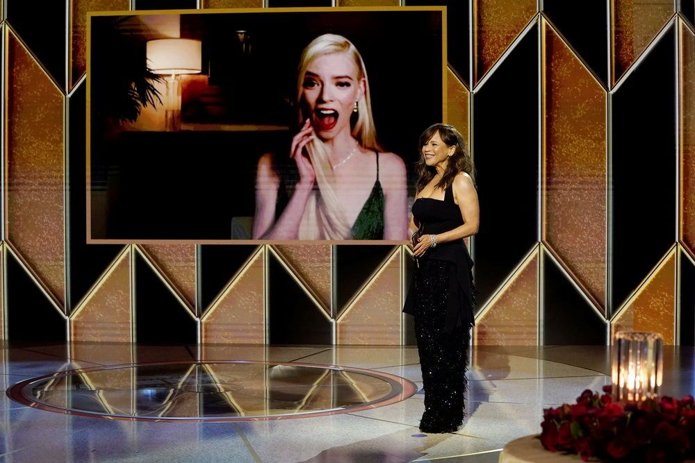 Rosie Perez presents Anya Taylor-Joy with the Best Actress - Television Motion Picture award for The Queen's Gambit, in this handout photo from the 78th Annual Golden Globe Awards in New York, 28 February 2021.