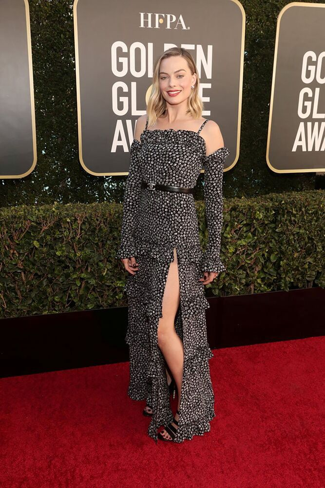 Margot Robbie poses in a handout photo from the 78th Annual Golden Globe Awards in Beverly Hills, California, 28 February 2021.