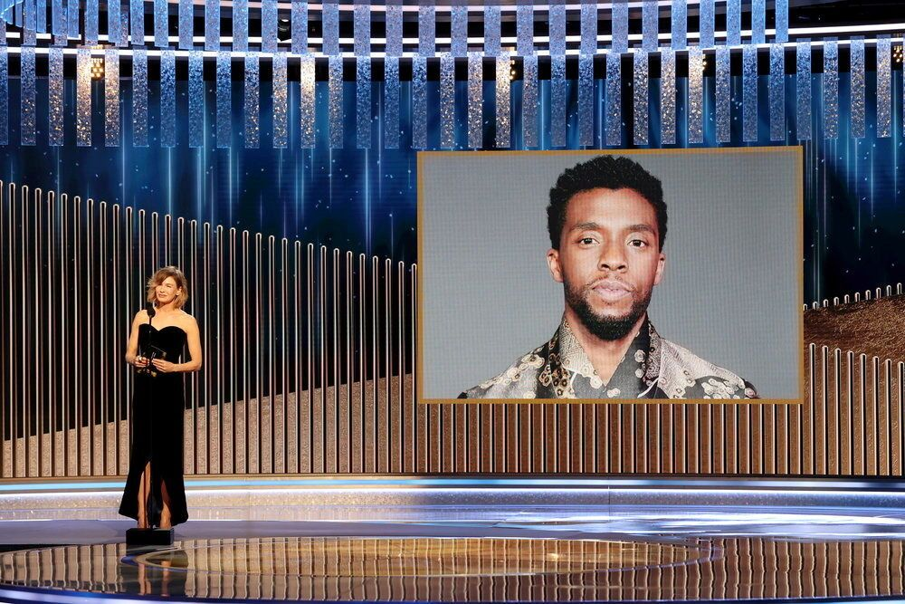 Renee Zellweger announces the late Chadwick Boseman as winner of the Best Actor - Motion Picture Drama award for Ma Rainey's Black Bottom in this handout photo from the 78th Annual Golden Globe Awards in Beverly Hills, California, 28 February 2021.